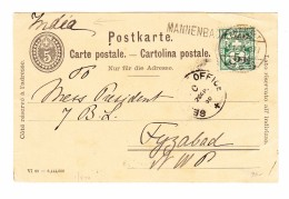 Schweiz Wertziffer 11.4.1900 Amb. Mannenbach Langstempel 5Rp WZ Auf 5Rp Postkarte Nach Fyzabad Indien - 1882-1906 Armoiries, Helvetia Debout & UPU