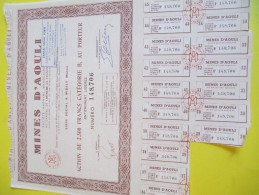 Mines D'AOULI/Maroc/ Action De 2 500 Francs Au Porteur / 1956    ACT110 - Mines