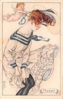 """05481 """"L. A. MAUZAN ILLUSTRATORE - RITRATTO FEMMINILE DEL MESE DI MARZO"""" CART. POST. ORIG. NON SPEDITA - Mauzan, L.A."""