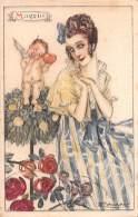 """05482 """"L. A. MAUZAN ILLUSTRATORE - RITRATTO FEMMINILE DEL MESE DI MAGGIO"""" CART. POST. ORIG. NON SPEDITA - Mauzan, L.A."""