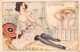"""05483 """"L. A. MAUZAN ILLUSTRATORE - RITRATTO FEMMINILE DEL MESE DI GIUGNO"""" CART. POST. ORIG. NON SPEDITA - Mauzan, L.A."""