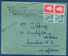 France - Enveloppe De Paris Pour Londres En 1948 Tarif Imprimés   Voir 2 Scans   Réf. 937 - Posttarife