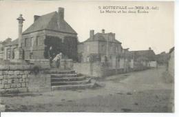 9 - SOTTEVILLE-SUR-MER - LA MAIRIE ET LES DEUX ECOLES  ( Animées  ) - France