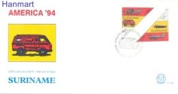 Surinam 1994 Mi 1495-1496 FDC- Britzkas, Airplans, Ships, Cars - U.P.U.