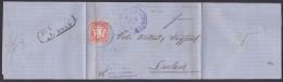 Königreich Bayern 1872 3 Kr. Gez. Faltbrief Ludwigshafen Nach Durlach, Mit Text - Bavaria