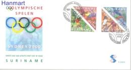 Surinam 2000 Mi 1741-1744 FDC- Olympics -> Summer Olympics 2000 Sydney - Ete 2000: Sydney