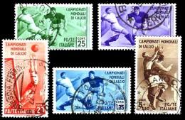 REGNO 1934 Campionati Mondiali Di Calcio Ordinaria Serie Compl. 5v. Annullata Usata Viaggiata - Afgestempeld