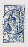 Schweiz UPU 1900 25Rp  #79B Maienfeld 22.12.1900 Abart Oben Rechts Abgenützte Stelle - 1882-1906 Armoiries, Helvetia Debout & UPU