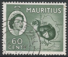 Mauritius. 1953-58 QEII. 60c Deep Green Used. Mult Script CA W/M SG 302a - Maurice (...-1967)