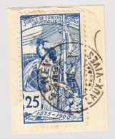 Schweiz UPU 1900 25Rp  #79B Mit 2-Kreis Stempel Genève 1.10.1900 Auf Briefstück - 1882-1906 Wappen, Stehende Helvetia & UPU