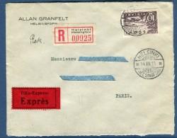 Finlande - Enveloppe En Recommandée Exprès ( étiquettes) De Helsinski Pour Paris En 1935   Voir 2 Scans   Réf. 971 - Briefe U. Dokumente