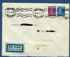 Finlande - Enveloppe De Helsinski Par Avion ( étiquette) Pour La France En 1936  Voir 2 Scans   Réf. 980 - Finland