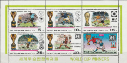 """Korea-Nord 1747-51+53 Im Kleinbogen """"Gewinner Der Fußballweltmeisterschaften 1930-1978"""" MNH / ** / Postfrisch SELTEN ! - Korea (Nord-)"""