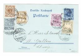 Schweiz WZ 29.4.1900 Schiffspost Auf Dem Bodensee 2Pf GS Postkarte Mit 4 Länder Frankatur - Cartas