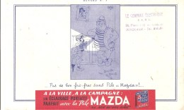 "Buvard. MAZDA Pile Buvard N°3 Pas De Bon Fric-frac Sans Pile ""Mazda!"" - Electricité & Gaz"