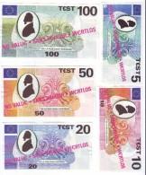 BILLET SPECIMEN ECHANTILLON TEST Distributeur Monnaie Banque De La Rue Cash Systems 5 - 10 - 20 - 50 - 100 € - Ficción & Especímenes
