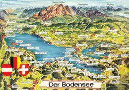 1 MAP Of Germany * 1 Ansichtskarte Mit Der Landkarte - Der Bodensee - Carte Geografiche