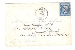 Lettre De BERCY , Seine, 14 Juillet 1862 , Pc 367 Sur Empire N° 14 B > Eyry Redirigée Clermont Ferrand - 1849-1876: Période Classique