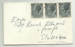 3 Francobolli Da 5 Lire Su Busta - 6. 1946-.. Republic