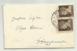 2 Francobolli Da 10 Centesimi Colore Seppia Imperiale - Italia