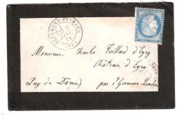 Lettre CLERMONT FERRAND , Puy De Dôme GC 1053 S CERES N° 60 B TYPE 2 > EYRY, Par St Germain Lembron, TB Cote 40 Euros - 1849-1876: Période Classique