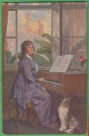 A. Marchisio Donna Al Pianoforte Con Cane Cp 1918