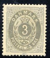 DENMARK 1875 3 øre  Perforated 14:13½ Grey/grey-blue LHM / *.   Michel 22 I YAa - Ungebraucht