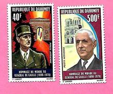 1270  ~~ 1970  ~~  REPUBLIQUE   DAHOMEY - Poste  Aérienne    N°  PA  139 / 140**  Neufs - Bénin – Dahomey (1960-...)
