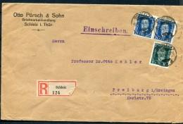 Germany 1924 - Registered Cover Schleiz To Freiburg Richly Franked - Germany