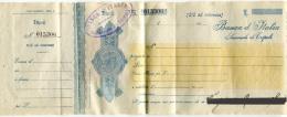 ASSEGNO BANCA D'ITALIA SUCCURSALE DI TRIPOLI ANNO 1923 CENT. 10 COLONIE ITALIANE TRIPOLITANIA - Assegni & Assegni Di Viaggio