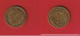 Morlon  --  1  Franc 1935  --  état  TB+  --  Rare - H. 1 Franc