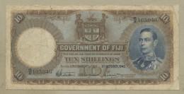 FIJI - 10 Sh  1940  KGVI  P38d  VG  ( Banknotes ) - Fiji