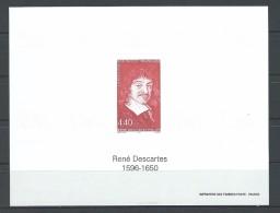 """FR Bloc Gommé YT 2995 """" René Descartes """" 1996 Neuf** - Epreuves De Luxe"""