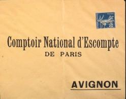 FR - SEMEUSE 25c PERFOREE C.N. SUR ENVELOPPE DU COMPTOIR NATIONAL D'ESCOMPTE DE PARIS à AVIGNON - - Perforés