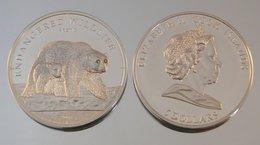 Îles Cook 5 Dollars 2008 Polar Bear Argent Couleurs Ours Polaire - Cook