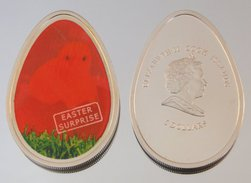 Îles Cook 5 Dollars 2009 Thermal Easter Egg Argent Couleurs Pâques - Cook