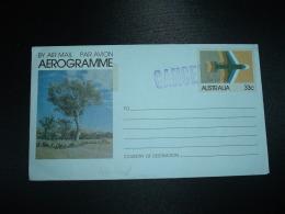 AEROGRAMME AVION 33c + GRIFFE VIOLETTE CANCELLED - Aerogrammes