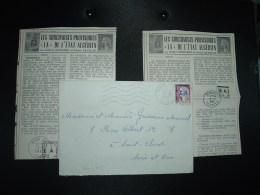 LETTRE TP MARIANNE DE DECARIS 0,25 Surchargé EA OBL.MEC.15-9?-1962 HISSEIN-DEY ALGER + 2 Coupures De Journaux Sur EA - Postmark Collection (Covers)