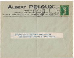 """HJ61     Motiv Brief """"Albert Peloux Fabrique D'Appareils Electriques Geneve""""1929 Walter Tell - Suisse"""