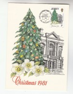 1981 JERSEY FDC Maximum Card  CHRISTMAS TREE, FLOWER Stamps Cover Flowers - Christmas