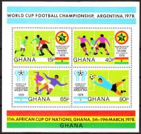 """GHANA Block 76A(746-9) """"Fußball-Afrikameisterschaft,Ghana;Fußball-Weltmeisterschaft Argentinien"""" MNH / ** / Postfrisch - Ghana (1957-...)"""