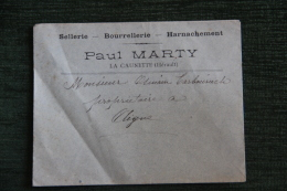 Enveloppe Publicitaire - LA CAUNETTE ( 34) - Sellerie, Bourrellerie, Harnachement Paul MARTY - France