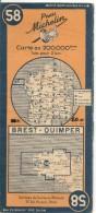 CARTE-ROUTIERE-MICHELIN-N °58-1946-BREST-QUIMPER-TBE ETAT-Pas De Plis Coupés - Cartes Routières