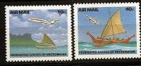 Micronésie Micronesia 1992 N° PA 43 / 4 ** Avion, Aviation, Courants, Pirogues, Moyens De Transport, Barques - Micronésie