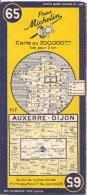 CARTE-ROUTIERE-MICHELIN-N °65-1955-AUXERRE-DIJON-TBE ETAT-Pas De Plis Coupés - Cartes Routières