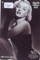 Carte Prépayée Du Japon Cinéma Marilyn MONROE (293) MOVIE FILM Actress * Prepaid Card Japan *  Telefonkarte Kino - Film