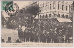 BORDEAUX : FETE DES VENDANGES - FANFARE DU CHAR SAUTERNES ET BARSAC - 1909 - R/V - - Bordeaux
