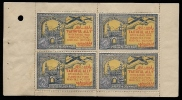 India Hyderabad State 1 Anna Colored  FAITHFULLY ALLY Urdu War Fund Label  BOOKLET Pane Of 4 MINT RARE Inde Indien - Hyderabad