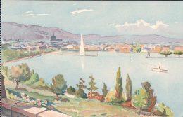E. Zbinden, Genève, La Radeet Jet D'eau, Litho (113) - Illustrateurs & Photographes