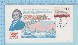 Historic -  Thomas Pane Arrives -  Cachet : Philadelphia Waterfront  Cover : Philadelphia 1974 - Histoire